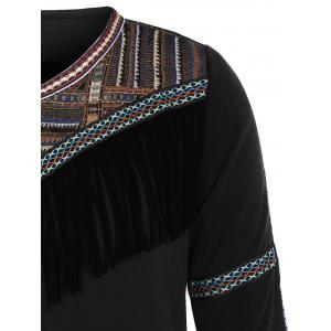Plus Size Tribal Tassel Fleece Lined Dress -