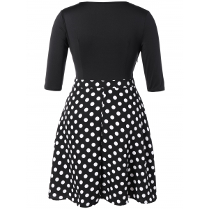 Plus Size Vintage Polka Dot Insert Dress -