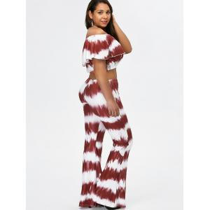 Off The Shoulder Crop Top and Flare Bottom Palazzo Pants -