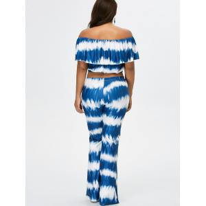 Off The Shoulder Crop Top and Flare Bottom Palazzo Pants - BLUE L