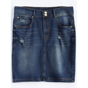 Plus Size Dark Wash Denim Mini Skirt - Deep Blue - 5xl