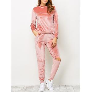Velvet Zippered T-Shirt and Sports Pencil Pants - Orangepink - Xl