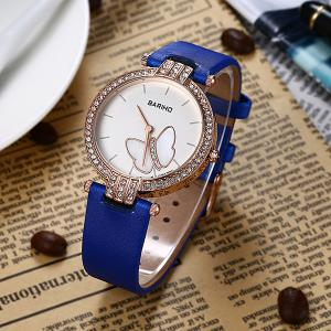Rhinestone Butterfly Artificial Leather Watch -