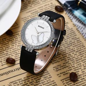 Rhinestone Butterfly Faux Leather Watch -