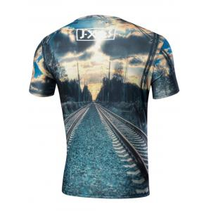 Crew Neck Short Sleeve Rail Graphic Tee - BLUE GREEN M