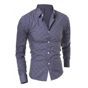 Slimming Long Sleeve Rhombus Shirt - Gray - M