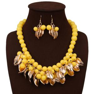 Beading Leaf Alloy Necklace Set