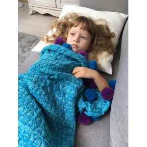 Pineapple Crochet Mermaid Blanket Throw with Pom Ball For Kids -