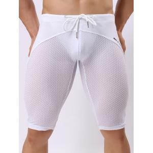 Skinny Drawstring Panel Mesh Sport Shorts - White - S