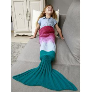 Ombre Crochet Knit Chunky Mermaid Blanket Throw For Kids