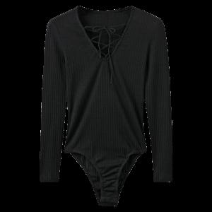 Lace Up Ribbed Skinny Cotton Bodysuit