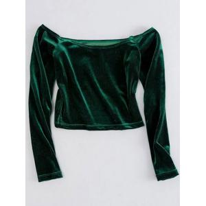 Off The Shoulder Cropped Velvet Top - Green - M