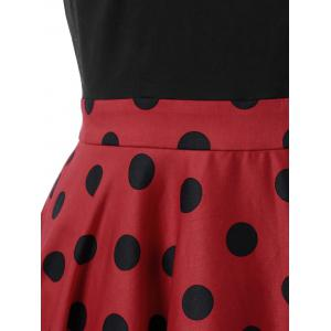 Polka Dot Two Tone Dress - RED/BLACK M