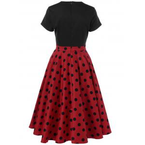 Swing Polka Dot Two Tone Dress - RED WITH BLACK L
