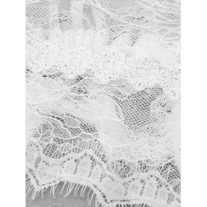 Wave Cut Fringed Lace Babydoll Twinset - WHITE L