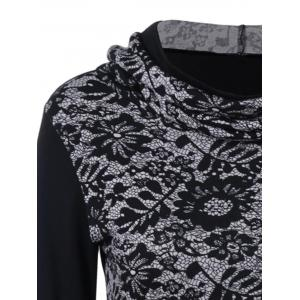 Lace-Up Asymmetrical Long Sleeve Hooded T-Shirt - BLACK M