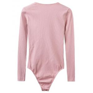 Lace Up Ribbed Skinny Cotton Bodysuit - PINK S