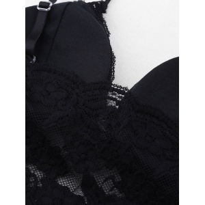 Moulded Wireless Seamless Lace Bra - BLACK ONE SIZE