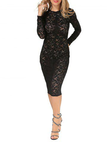 Sheer Lace Floral Bodycon Long Sleeve Dress - Black - S