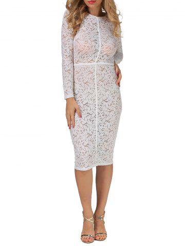 Sheer Bodycon Long Sleeve Long Tight Lace Sheath Dress