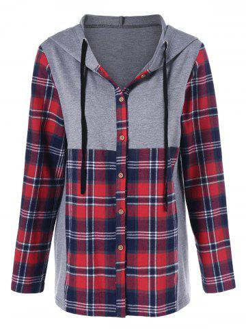 Buy Plaid Trim Button Up Hoodie GRAY AND RED M