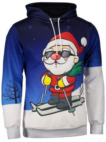 Buy Santa Claus Print Kangaroo Pocket Christmas Patterned Hoodies BLUE 3XL
