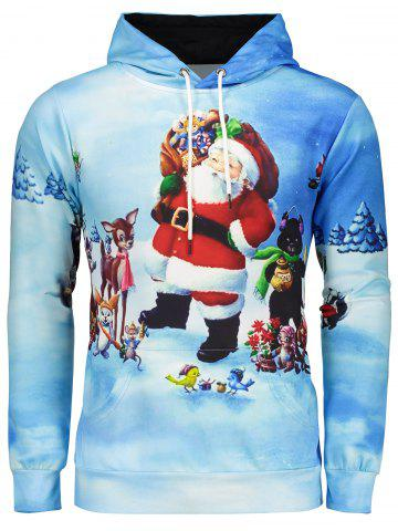 Latest 3D Print Pullover Christmas Patterned Hoodies BLUE 3XL