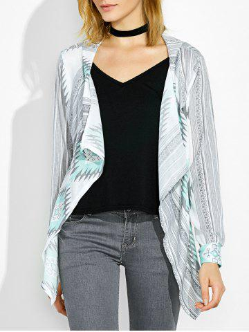 Shawl Neck Asymmetrical Geometrical Cardigan - Green - M