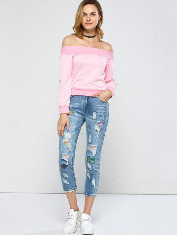 Sale Patched Capri Distressed Jeans Outfits - 31 LIGHT BLUE Mobile