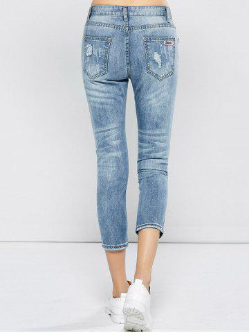 Cheap Patched Capri Distressed Jeans Outfits - 31 LIGHT BLUE Mobile