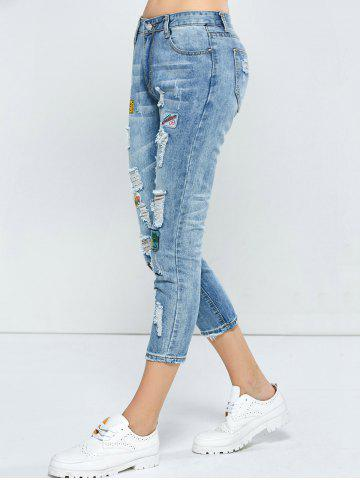 Fashion Patched Capri Distressed Jeans Outfits - 31 LIGHT BLUE Mobile