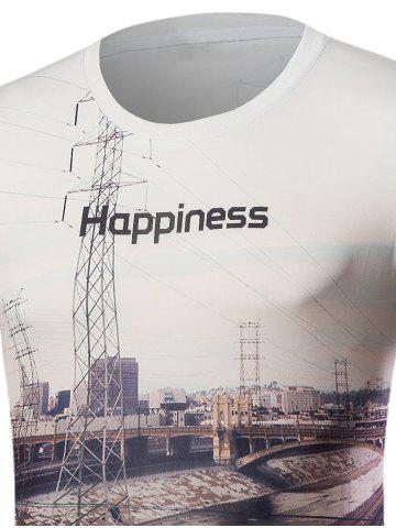 Outfits 3D Railway Print Short Sleeve T-Shirt - L WHITE Mobile