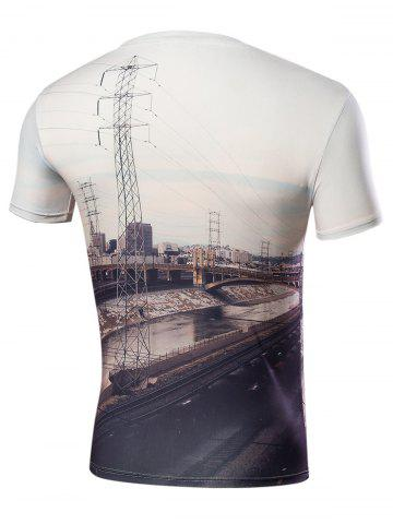 Hot 3D Railway Print Short Sleeve T-Shirt - S WHITE Mobile