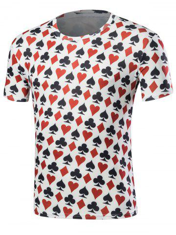 Fashion Poker Print Short Sleeve T-Shirt - XL COLORMIX Mobile