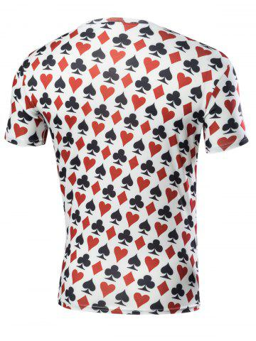Sale Poker Print Short Sleeve T-Shirt - L COLORMIX Mobile