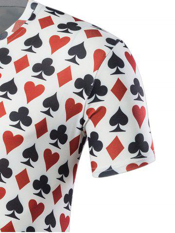Latest Poker Print Short Sleeve T-Shirt - L COLORMIX Mobile