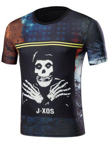 Fancy Short Sleeve 3D Skull Graphic Print T-Shirt - XL COLORMIX Mobile