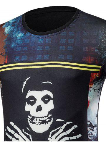 Buy Short Sleeve 3D Skull Graphic Print T-Shirt - XL COLORMIX Mobile