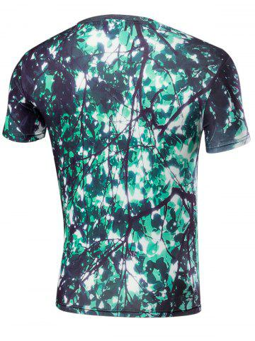 Discount Short Sleeve 3D Leaves Print T-Shirt - S GREEN Mobile
