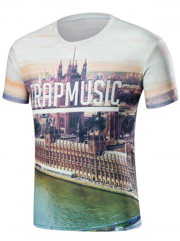 Affordable City View 3D Print Round Neck T-Shirt