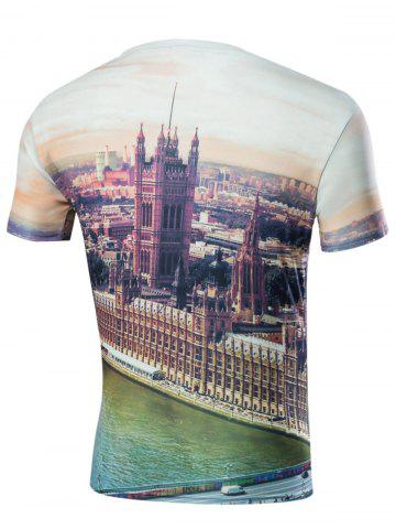 Shop City View 3D Print Round Neck T-Shirt - M COLORMIX Mobile