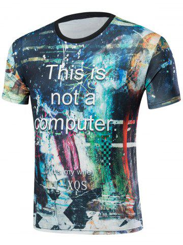 Sale Short Sleeve Abstract Print T-Shirt COLORMIX 2XL