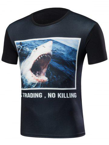 Cheap Round Neck 3D Shark Print T-Shirt
