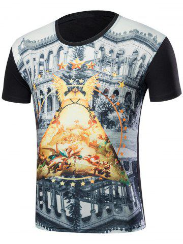 New Short Sleeve 3D Building Print T-Shirt - M BLACK Mobile