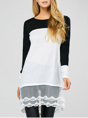 Chic Color Block Lace Insert Sheer Long T-Shirt
