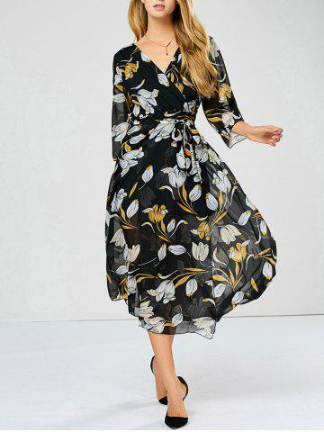 Outfits Surplice Backless Floral Sheer Swing Dress