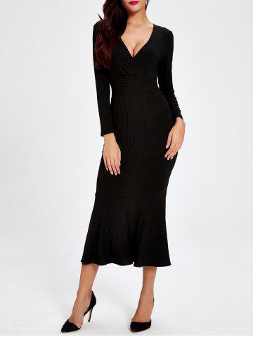 Plunge Trumpet Long Jumper Dress - BLACK 2XL
