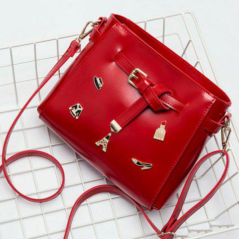 Outfits Metal Badges Buckle Strap Crossbody Bag RED