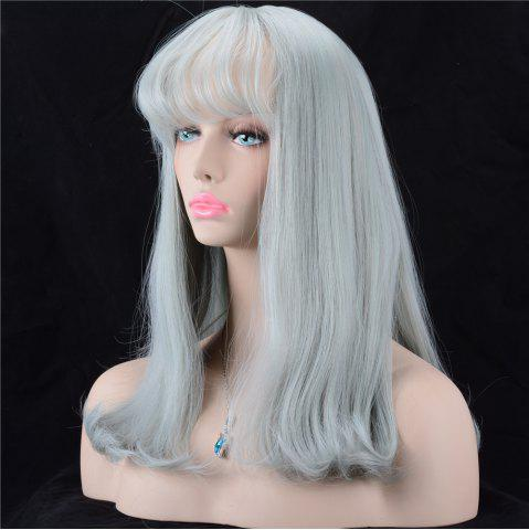 Best Long Shaggy Full Bang Slightly Curled Synthetic Wig ATLANTIS