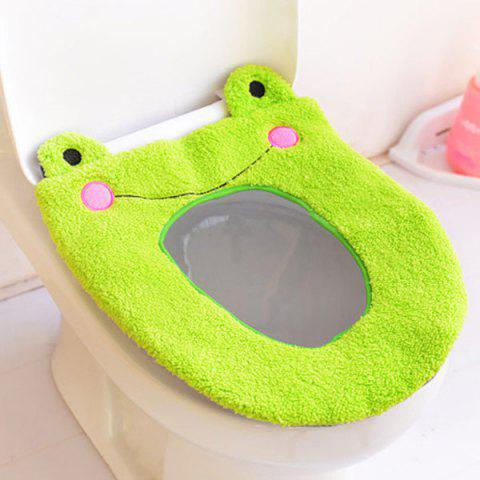 Online Cartoon Frog Toilet Seat Washable Short Plush Cushion Cover